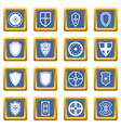 shield frames icons set blue vector image