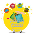 shopping cart with marketing set icons vector image