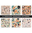 six seamless terrazzo patterns hand crafted and vector image vector image