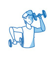 sport man dumbbell fitness gym workout vector image vector image