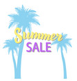 summer sale promotion banner with palms summer vector image vector image