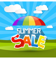 Summer Sale with Colorful Parasol - Umbrella Cloud vector image vector image