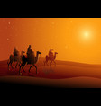 three wise men journey to bethlehem vector image vector image