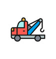 tow truck flat color line icon isolated on white vector image vector image