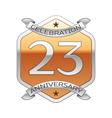 Twenty three years anniversary celebration silver vector image vector image