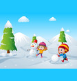 two kids playing snow ball in the snow field vector image