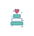 valentines heart cake icon design vector image
