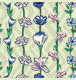 wild flowers seamless pattern zig zag olive sage vector image vector image