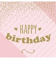 Happy birthday card with confetti for girl Pink vector image