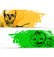 Horizontal banners for Halloween with skull vector image