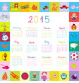 2015 Calendar frame with toys vector image vector image