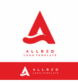 a for allred letter initial logo template red vector image vector image