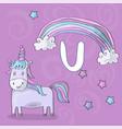 alphabet letter u and unicorn abc vector image vector image