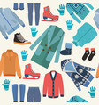 background with fashion winter clothes collection vector image vector image
