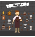 Barista And Coffee Composition vector image vector image