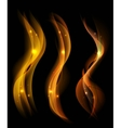 Beautiful Fire Smoke over black background Lines vector image vector image