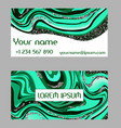 business card malachite texture green stone vector image vector image