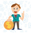 Businessman character design with doolar sign coin vector image