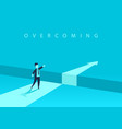 businessman standing in front of the obstacle gap vector image vector image