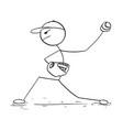 cartoon male baseball player pitcher vector image vector image