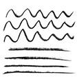 chalk brushes set grunge stripes with chalk vector image