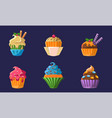 colorful delicious cupcakes set bright creamy vector image vector image