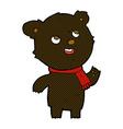 comic cartoon black bear wearing scarf vector image vector image