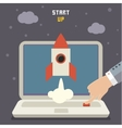Concept of start up rocket on gray vector image vector image
