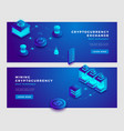 cryptocurrency exchange and mining concept banner vector image vector image