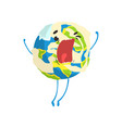 cute cartoon earth planet character shouting vector image vector image