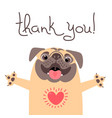 cute dog says thank you pug with heart full of vector image vector image