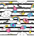 cute seamless pattern with trendy patches vector image