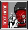 demon holding spray paint hand drawing vector image vector image