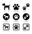 Dog paw prints icons set vector image vector image