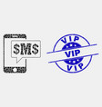 dotted phone sms cloud icon and grunge vip vector image vector image