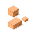 empty brown cardboard boxes icon set vector image