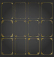 frames gold decorative rectangle and borders set vector image vector image