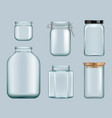 glass jars product jam containers transparent vector image