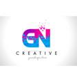 gn g n letter logo with shattered broken blue vector image
