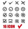 grey check marks icon set vector image