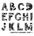 hand drawn creative alphabet vector image vector image
