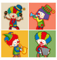 happy clowns playing different instruments vector image vector image