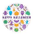 happy halloween card halloween circle vector image vector image