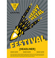 heavy metal festival poster with robots hand rock vector image vector image
