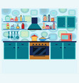 interior kitchen with cooking equipment in vector image vector image