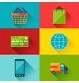Internet shopping icons in flat design style vector image