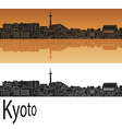 Kyoto skyline in orange vector image