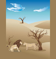 landscape with lions vector image