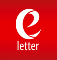 logo letter E on a red background vector image vector image