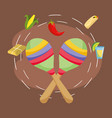 mexican maracas and corn chili pepper tequila corn vector image vector image